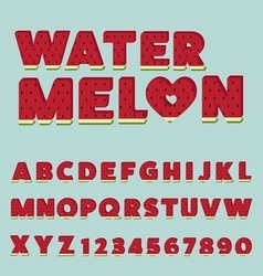 Watermelon letters set vector image