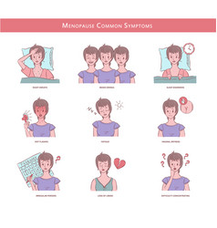 Woman experienced menopause common symptoms vector