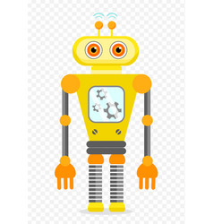 Yellow cheerful cartoon robot character vector