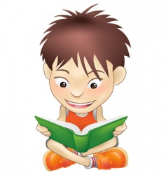 young boy reading a book vector image