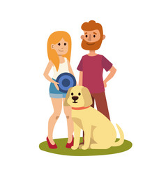 Young couple family resting summer happy lifestyle vector