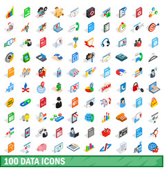 100 data icons set isometric 3d style vector image