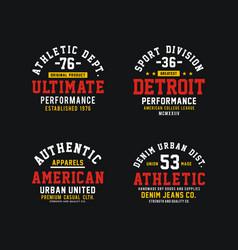 athletics set design t-shirt graphic vector image