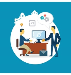 businessman working at his desk and talking with vector image vector image