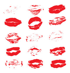 lipstick kiss prints isolated on white background vector image vector image