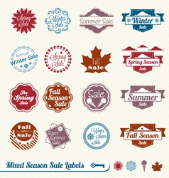 Mixed Season Sale Labels vector image vector image