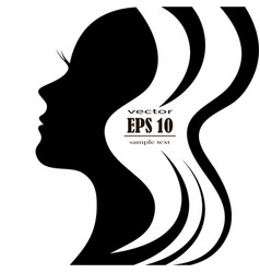 silhouette of a female head with a beautiful hair vector image