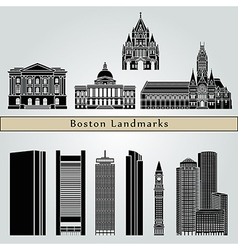 Boston landmarks and monuments vector image