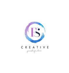 fs letter logo circular purple splash brush vector image