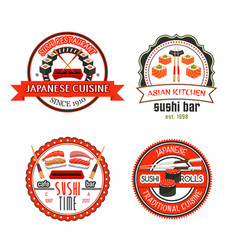 japanese sushi bar icons with asian food vector image vector image