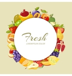 Nature food menu background with cartoon vector image