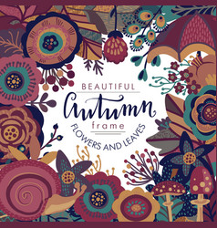 autumn frame with lettering and place for vector image vector image