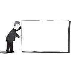 business man with blank paper - black and white vector image