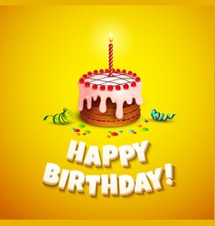 Happy birthday greeting card with cake vector image