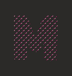 m dotted alphabet letter isolated on black vector image