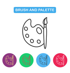 paint brush with palette icon vector image