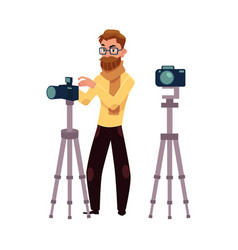 photographer taking pictures shooting in studio vector image vector image