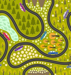 Road pattern with cars vector image