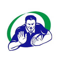 rugby player with ball fending off vector image