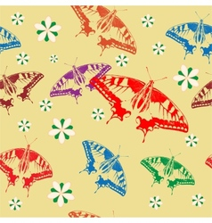 Seamless background of colorful butterflies vector image