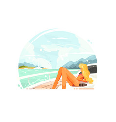 blond girl relaxing on yacht vector image vector image