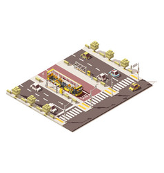 isometric low poly dedicated bus lane vector image vector image