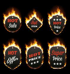 set of six hot sale frames surrounded with flame vector image vector image