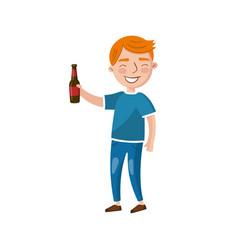 young man drinking beer cartoon vector image