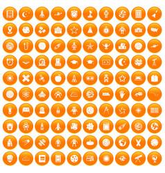 100 astronomy icons set orange vector