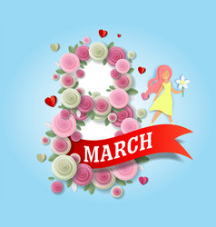 8 march women day greeting card template vector image