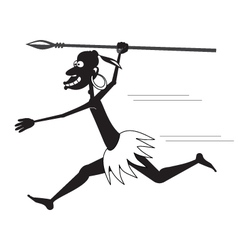 Aboriginal running BW vector image
