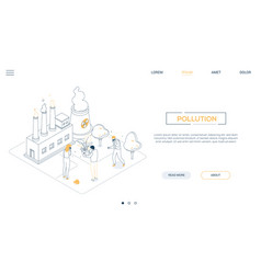 air pollution - line design style isometric web vector image