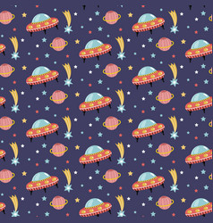 Alien spaceship in outer space seamless pattern vector