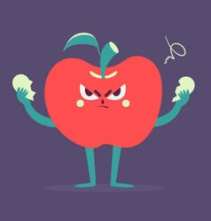 Angry Apple Tearing a Heart Apart vector