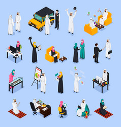 arab people isometric set vector image
