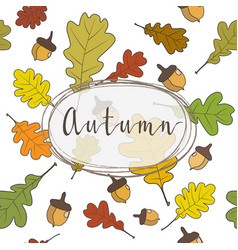 Autumn frame background wreath autumn leaves vector
