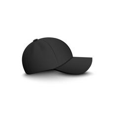 Baseball black blank cap side view 3d vector