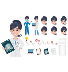 Beautiful cartoon character medic creation set vector