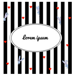 black and white striped background with cartoon vector image