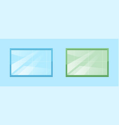 blue and green windows semi flat rgb color set vector image