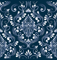 Blue damask seamless pattern element vector