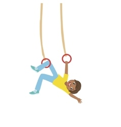 Boy Doing Exercises On Hanging Rings vector