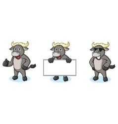 Buffalo Gray Mascot happy vector