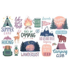 camping hiking adventure letterings wild vector image