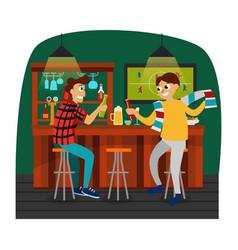 Cartoon best friends watching football game in bar vector