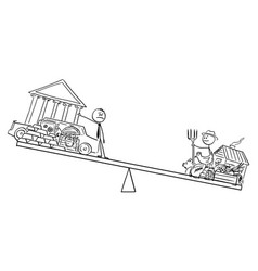 Cartoon rich man and poor farmer on balance vector