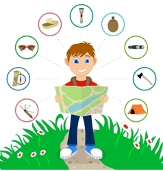 Cartoon traveler with a large backpack vector
