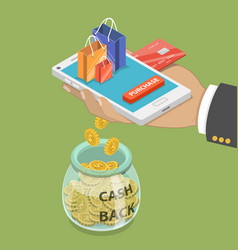 Cash back flat isometric concept vector