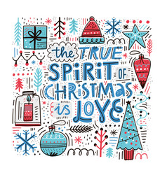 christmas hand drawn color vector image