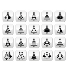 Christmas tree - various types buttons set vector